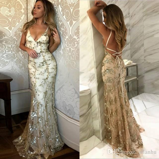 214f37a6f2 Gold Sexy 2018 Mermaid Prom Dresses Spaghetti Straps Simple Lace Backless  Sweep Train Formal Evening Dress Party Gowns Sparkly Cheap Gowns