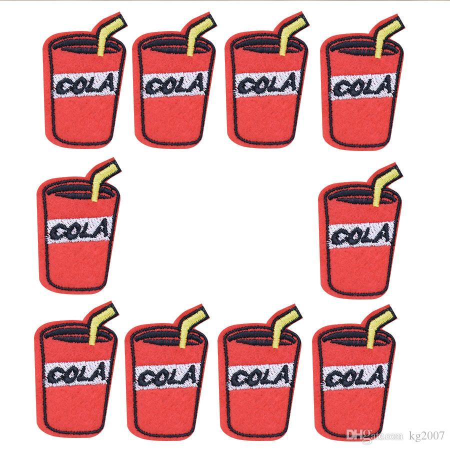 boisson cola correctifs pour sacs à vêtements fer sur transfert Applique Patch pour vêtements Jeans DIY coudre sur Badge de broderie