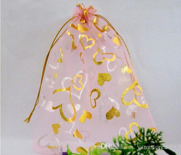 Freies Verschiffen 7x9cm rote Herz-Schmucksache-Geschenk-Organza-Beutel-Geschenk-Beutel-Beutel für die Schmucksachen, die zeichnende Hochzeits-Geschenk-Beutel verpacken