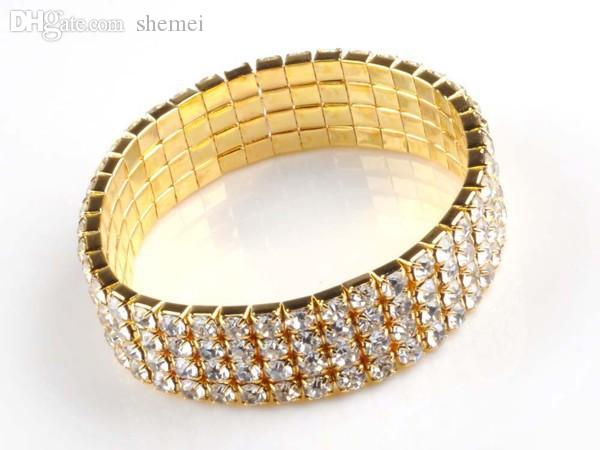 Wholesale-NEW Free Shipping Stuning Stretch Bracelets Elastic Plated Gold Cuff Bangle 4 Rows White Rhinestone Crystal Resin Crystal Bangle