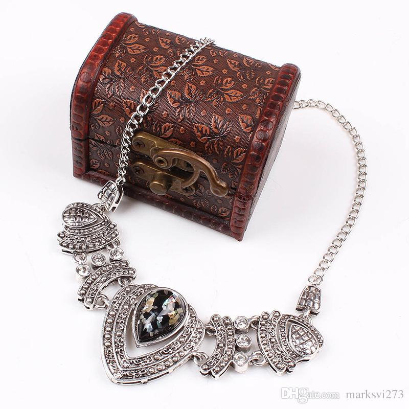2014 nuove donne di moda set di gioielli d'argento d'epoca colar dichiarazione collane con gemma di vetro regalo di natale TAD1