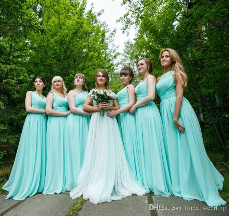2017 Mint Green Long Chiffon A Line Sweetheart Bridesmaid Dress Boho Garden Wedding  Party Guest Maid Of Honor Gown Plus Size Custom Made Purple Bridesmaid ... b4e7fc219b25