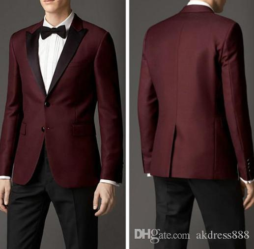 Top Selling Tuxedos Burgundy Slim Fit Custom Made Groom Tuxedos ...