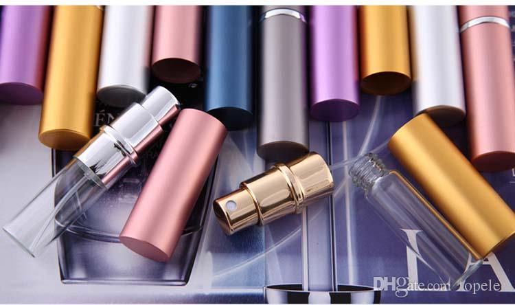 DHL Free Ship perfume bottle 5ml Aluminium Anodized Compact Perfume Aftershave Atomiser Atomizer fragrance glass scent-bottle Mixed color
