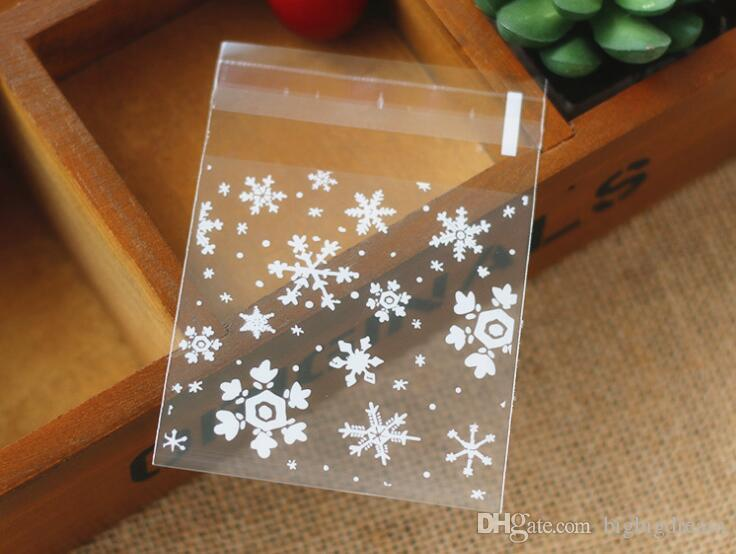 New Small Accessories Cellophane Favor Mini Bags, Self Seal Party Gift Packaging,white Snowflakes 10x10+3cm envelope