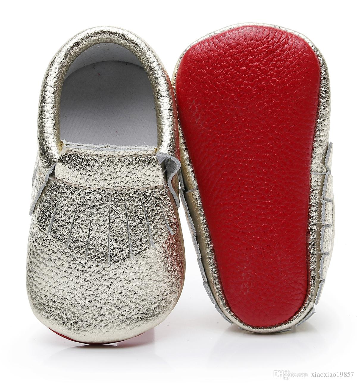 c75b8e719bae 2019 HONGTEYA Genuine Leather Baby Moccasins Red Sole Newborn First Walker  Shoes Cute Fringe Infantil Baby Boy Girl Shoes Boots From Xiaoxiao19857
