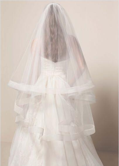 Simple Two Tier Mid Length Veil with Horsehair Trim Veils for Bridal Short Veils Cathedral Veils