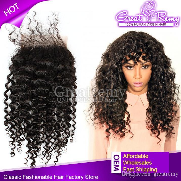 100% peruanische Rohboden Menschliches Haar Top-Spitze-Schliessen Curly Wave 4