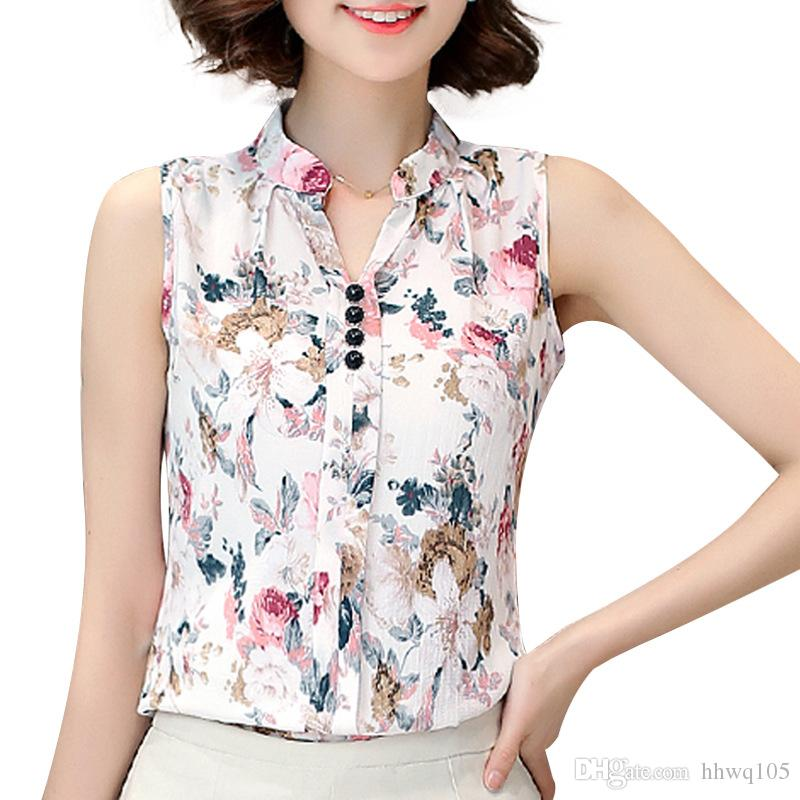 0245dec6163ab3 2019 New Women Sleeveless Chiffon Blouse Stand Collar Floral Print Summer  Casual Blouse Top Elegant Ladies Work Shirt JCG1105 From Hhwq105, $8.45 |  DHgate.