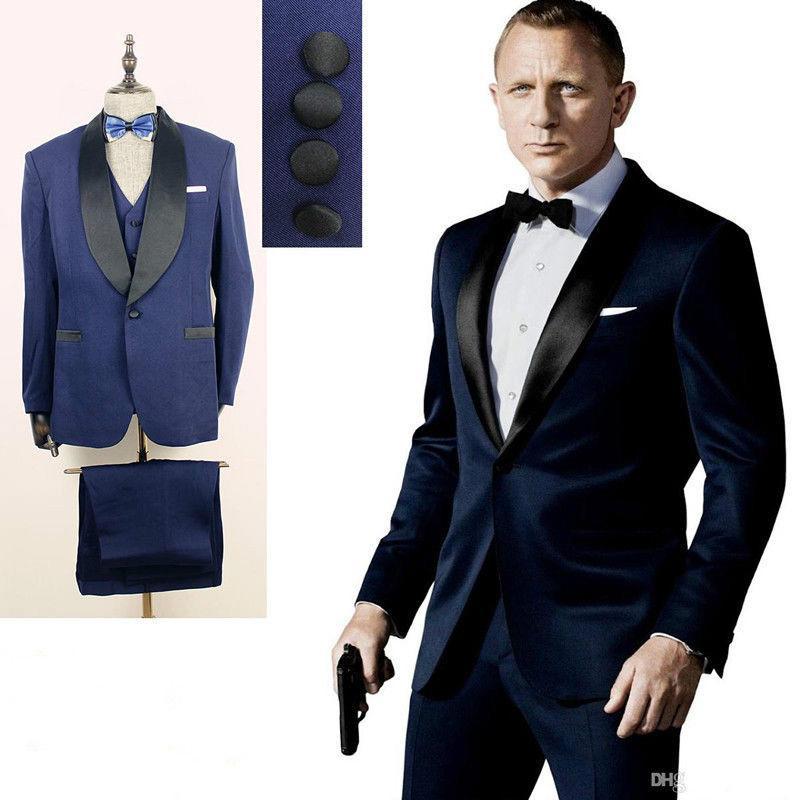 Personalizado 2016 Azul Escuro Ternos Dos Homens Um Botão Xale Casamento Lapela  Ternos para Noivo   Groomsmen Prom Casual Tuxedo (Jacket + Pants + colete +  ... 35363e68966
