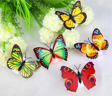 Venta al por mayor de colores de fibra óptica mariposa Nightlight 1W LED mariposa para la sala de bodas Luz de noche Decoración del partido