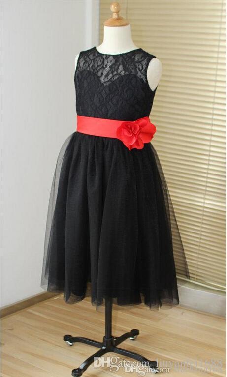 Black lace sweetheart tulle keyhole flower girl dress tutu kids children junior bridesmaid dress with red sash detachable for wedding