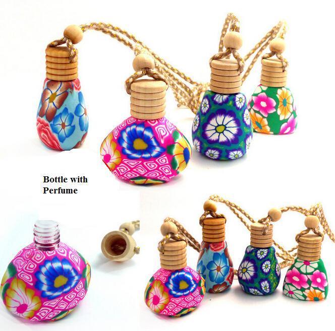Venta al por mayor 12-18 ML Decoración de la caída del coche botella de Perfume de Esfera de cerámica Colgante de la botella colgante incluyen Perfume