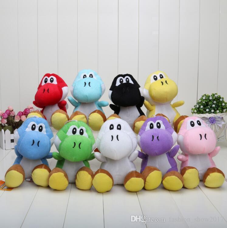 Hot Super Mario Bros Yoshi Brinquedos de Pelúcia Recheado Bonecas Macias Com Chaveiros 10 Cores Frete Grátis