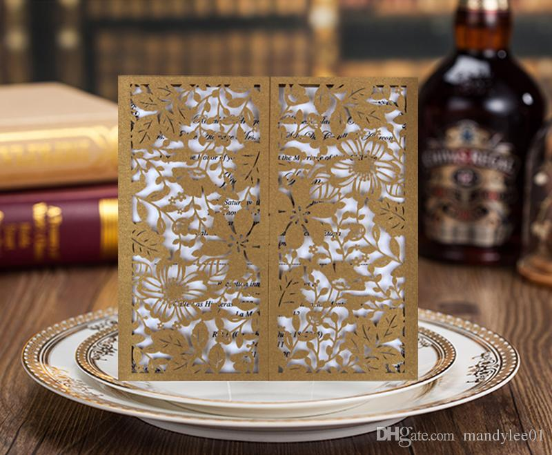 Royal Gold Laser Cut Wedding Invitation Cards Gold And White
