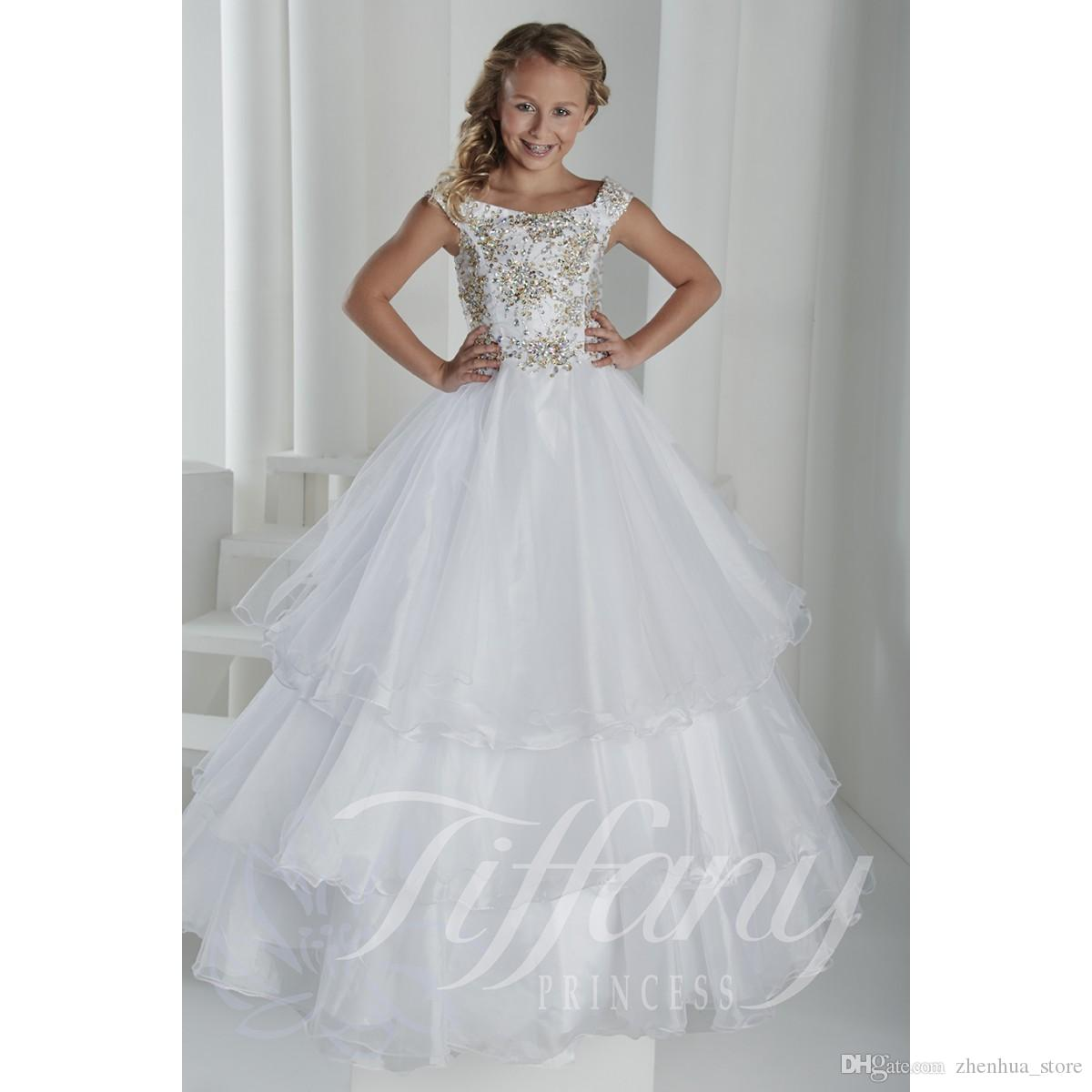 white little girls pageant dress 13406 beads sequins floor length ball gown custom made party. Black Bedroom Furniture Sets. Home Design Ideas
