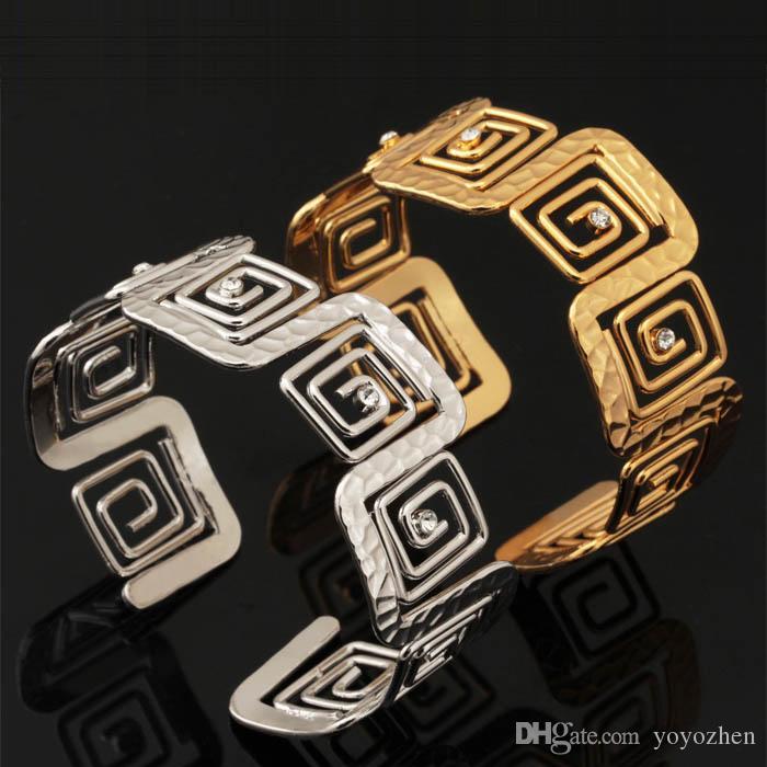 Kadınlar Toptan YH5196 için Vintage G Manşet Bileklik Yapay elmas 18K altın kaplama Ayarlanabilir Bileklik Bileklik Moda Takı