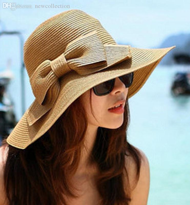 8bb3e1d5a63 Wholesale-New Fashion Women s Foldable Wide Brim Floppy Summer Beach ...