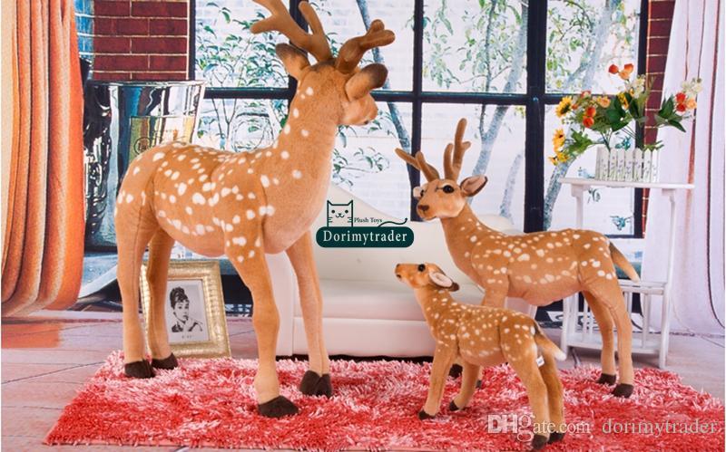 Dorimytrader 90cm X 70cm 대형 에뮬레이션 동물 사슴 봉제 부드러운 자이언트 시뮬레이션 시카 사슴 멋진 아기 선물 무료 배송 DY60970