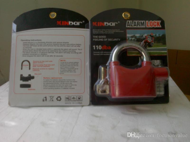 Padlock Alarm Anti-Theft Anti-lost Home Security Door Motor Bike Bicycle Padlock 120dB with 3 Keys black in retail box