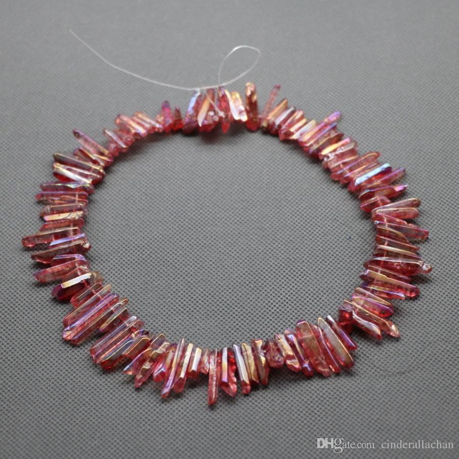 / 1Strand roher dunkler rosa Kristallquarz-Felsen-Kristallanhänger, natürliche Freeform spitzt Punkte gebohrte Briolettes, 15.5 Zoll-Frauen-Halskette