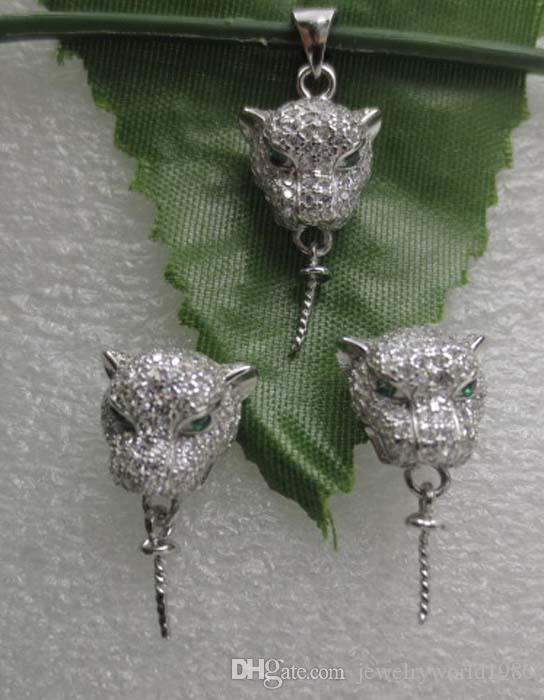 Snelle gratis verzending 11mm accessoires Leopard Head Earring en hanger 925Silver