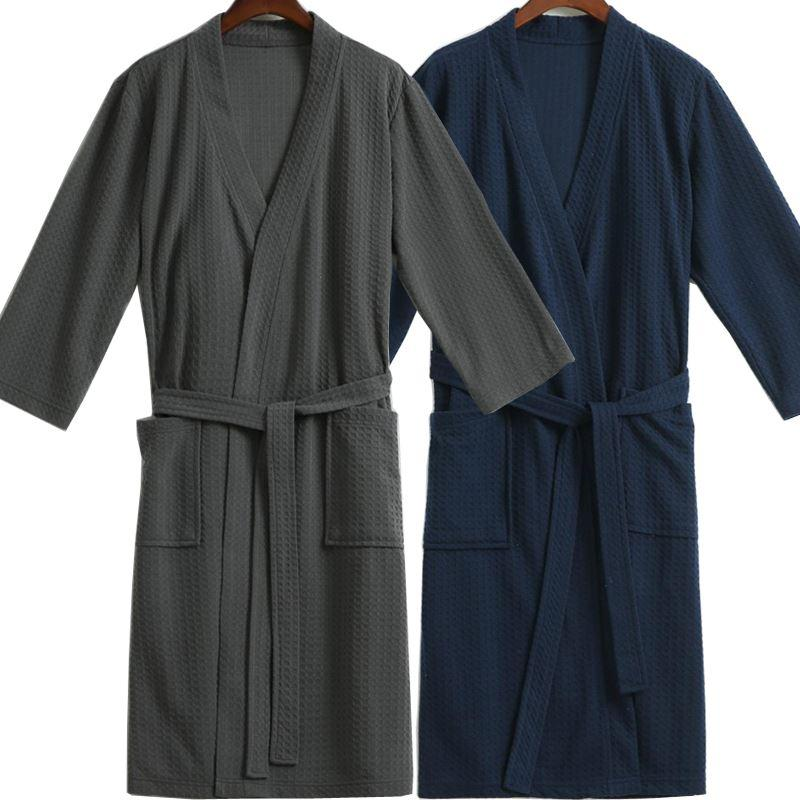 Men Waffle Bath Robe Suck Water Cotton Bathrobe Male Night Dressing