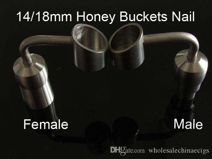 titanium nail honey buckets bubbler banger 90 degree titanium nail female male nail domeless Joint nail 14mm&18mm ceramic nail quartz nail
