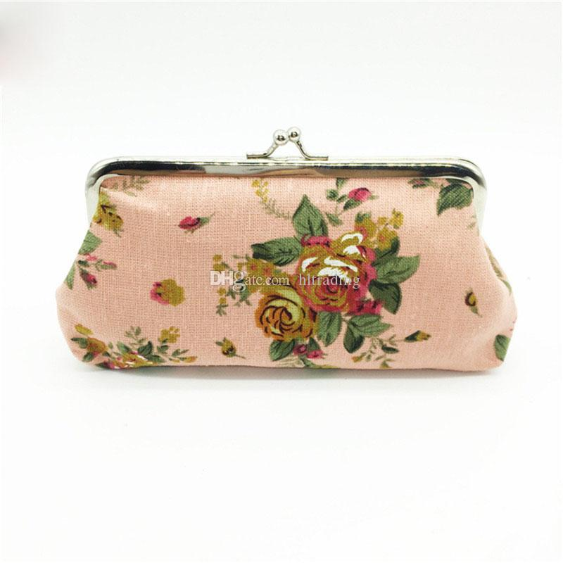 New Retro Roses Coin Purse Canvas Hand bag Floral wallet Christmas Promotion Gift C3065