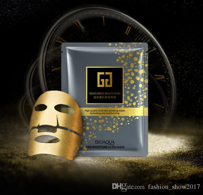 حار جديد bioaqua 24 كيلو الذهب فوق الجمال ترطيب قناع الوجه قناع الوجه كولاجين الذهب قناع الوجه