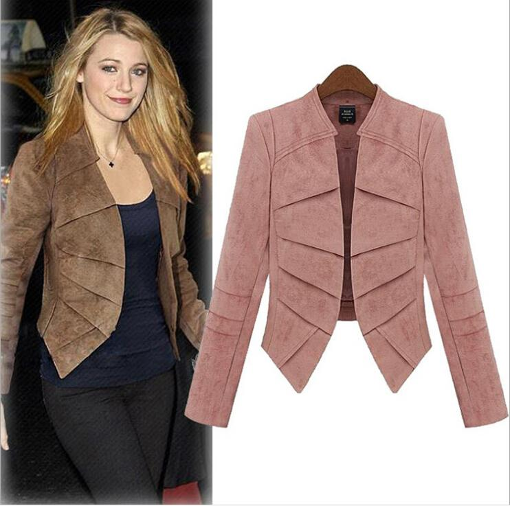 203f23a60da 2019 Women Clothes Fashion Short Blazer 2015 Europe Plus Size 5XL Ladies  Small Suit Jacket Solid Color Cotton Cloth Leather Cashmere Coat Blazers  From ...
