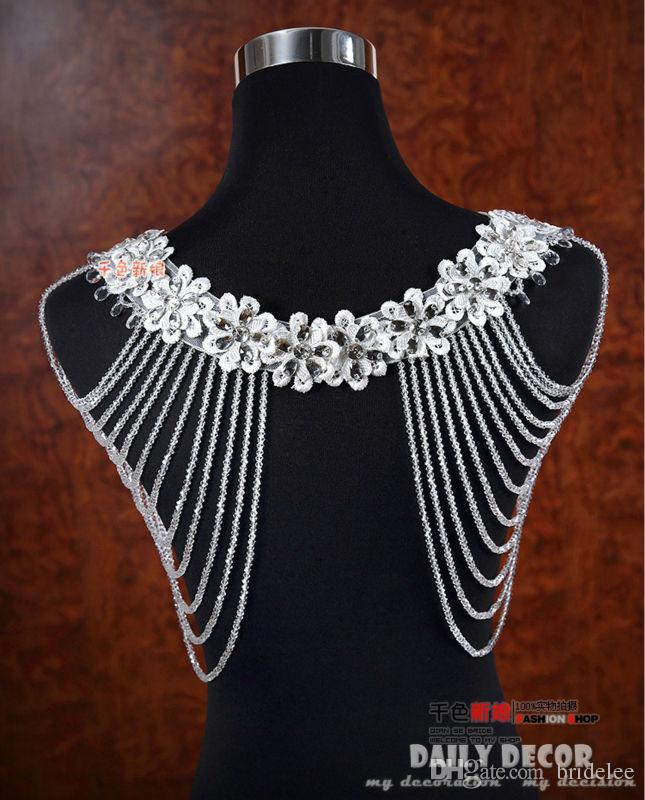 2019 Luxurious Crystal Rhinestone Jewelry Bridal Wraps White Lace Wedding Shawl Jacket Bolero Jacket Wedding Dress With Beaded