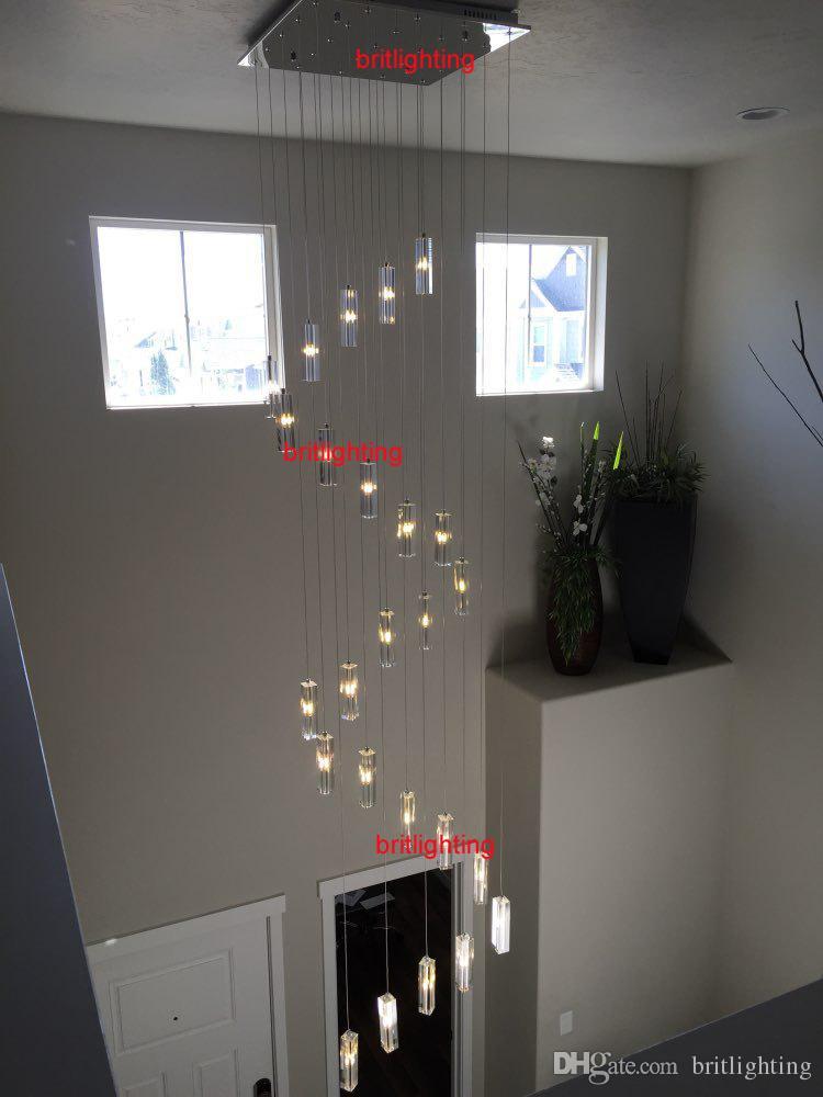 Merdiven avize asılı kristal kolye avizeler merdiven aydınlatma için spiral avize merdiven modern led avize aydınlatma mutfak