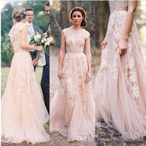 2019 Cheap Country Beach A Line Wedding Dresses V Neck Lace Appliques Blush Pink Champagne Long Sweep Train Reem Acra Formal Bridal Gowns
