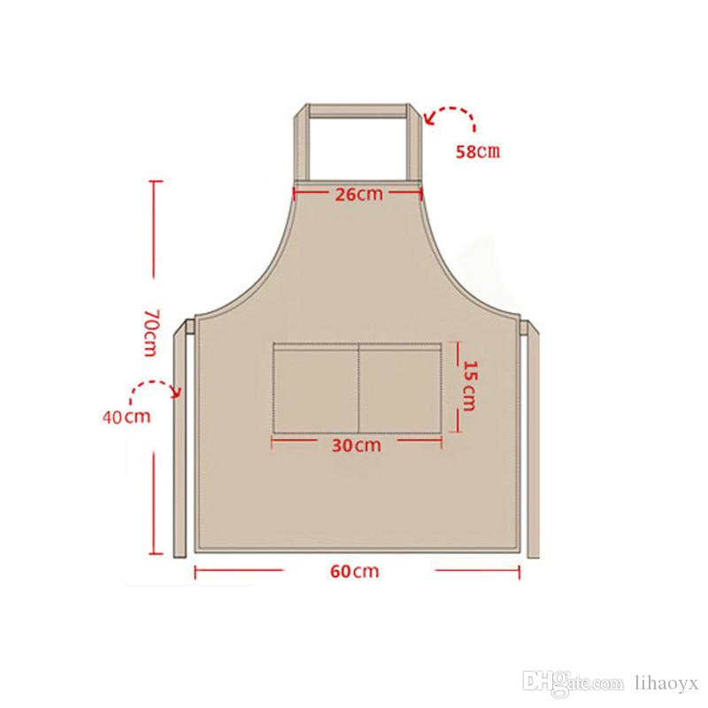 1 pezzo a 2 tasche Grembiule da donna Grembiule Grembiule Grembiule Barbecue Ristorante Cucina Cucina Grembiuli Abito da lavoro 60x70cm a279
