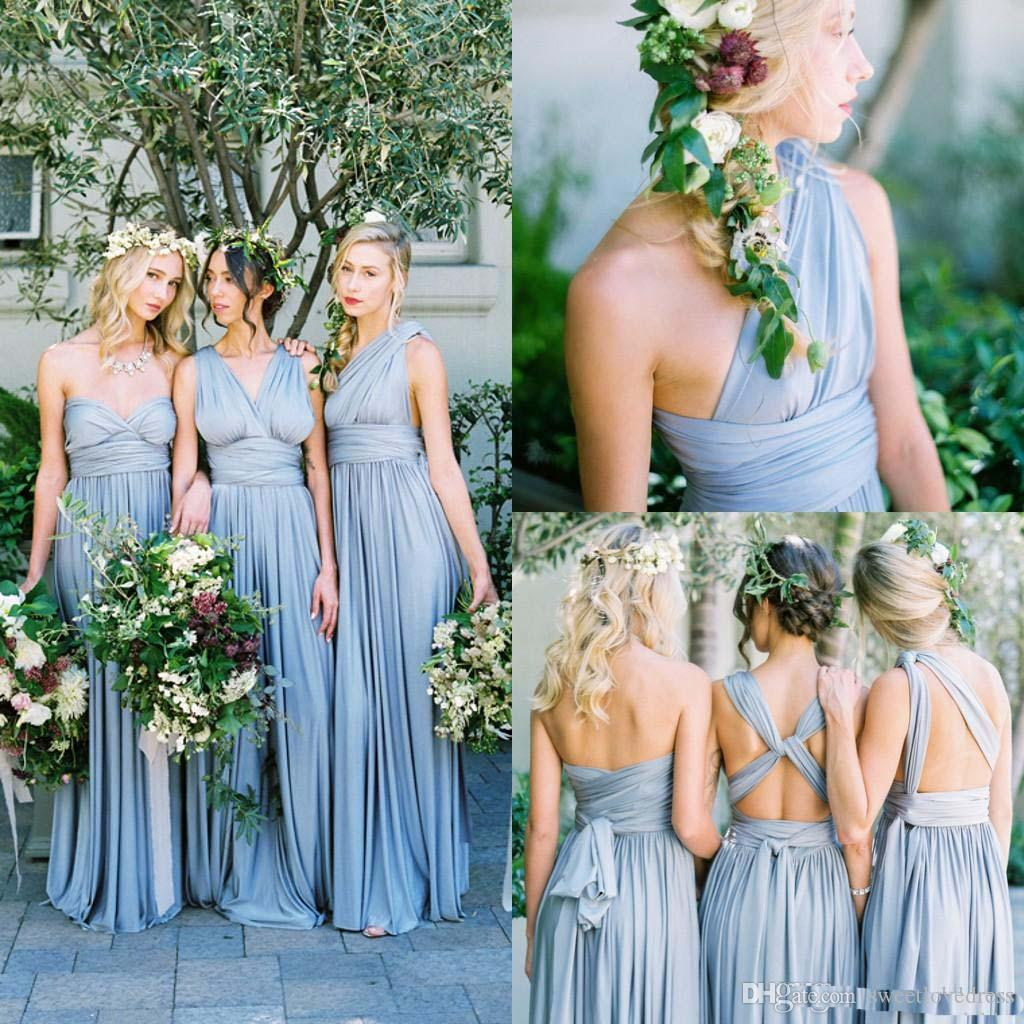9c5a7844ad 2017 New Dusty Blue Convertible Bridesmaid Dresses Eight Ways To Wear  Pleated Floor Length Country Beach Wedding Guest Party Gowns Cheap Bronze  Bridesmaid ...