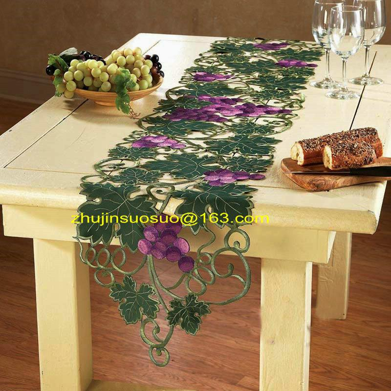 38*178 Classic Purple Grape Embroidered Table Runners Full Embroidery Table  Runner /tablecloths/ Placemat Coffee Table Dining