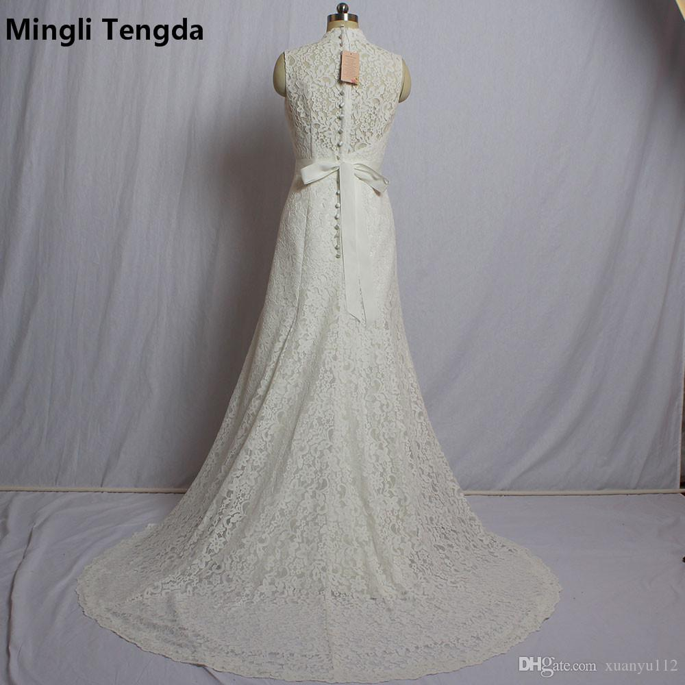 Mingli Tengda 2018 New Full Lace Wedding Dresses V Neck Sexy Wedding Mermaid Dress with Beaded Sasshes Robe Soiree Plus Size Gowns Zipper