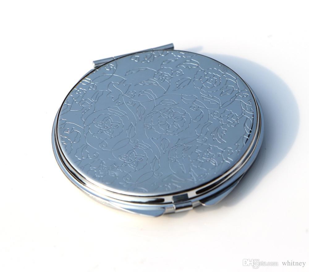 Dünner kompakter Spiegel 62mm Silber Blumengeprägte leerer Ebener kleiner Taschenspiegel für DIY Decoden 18032-1
