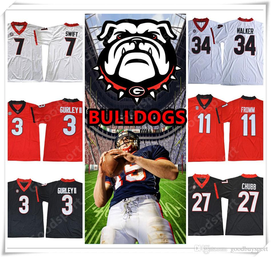 852bb22b6 2019 2018 Georgia Bulldogs NCAA Jersey GURLEY II 7 SWIFT 11 Jake Fromm 10  Jacob Eason 27 Nick Chubb 34 Walker Stitched College Football Jerseys From  ...