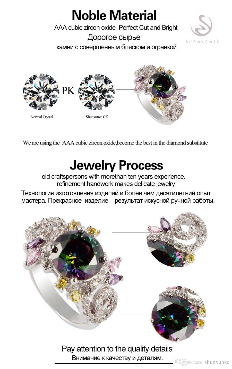 encantos SHUNXUNZE produtos de primeira classe Anéis de casamento Jóias e Acessórios para as mulheres dropshipping do arco-íris Cubic Zirconia ródio R707G