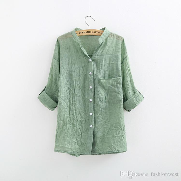 Blusas para las mujeres Nueva Elegante Ropa de algodón Ropa de dama Moda Mujer delgada Temperamento Color puro Camisa causal caliente Mujeres Tops Blusas