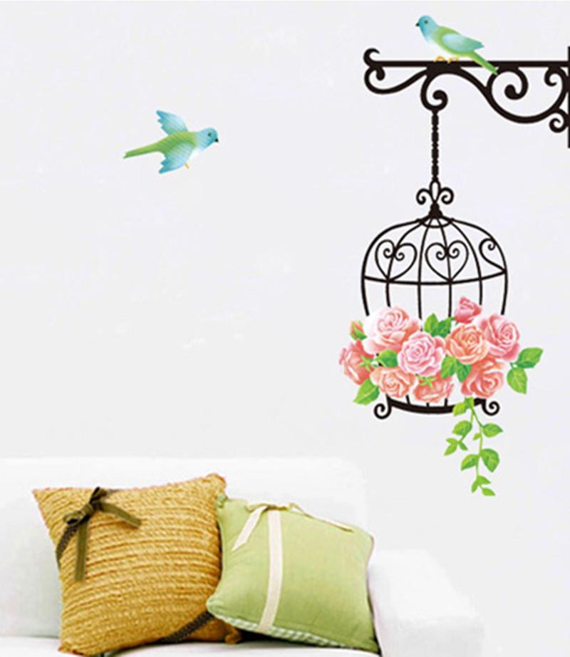 Removable Wall Stickers Bird Cage Pattern Diy Kids Child Bedroom Living  Room Home Fridge Decor Decal Pvc Sticker Wallpaper Walls Paper Flower Wall  Stickers ... Part 52