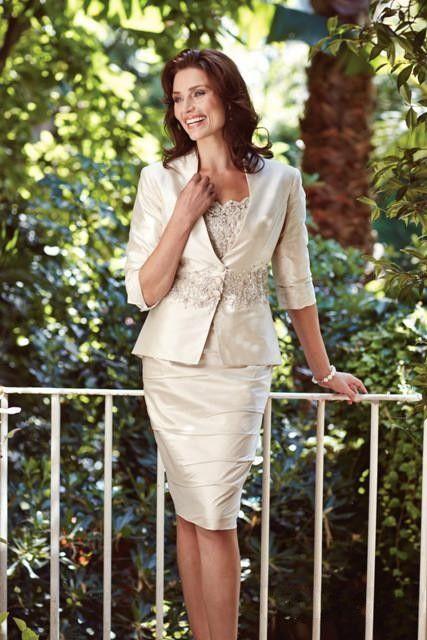 Neue Ankunft elegante Plus Size Lace Short Mutter der Braut Bräutigam Kleider mit Bolero Jacke Perlen für Brautkleider nach Maß