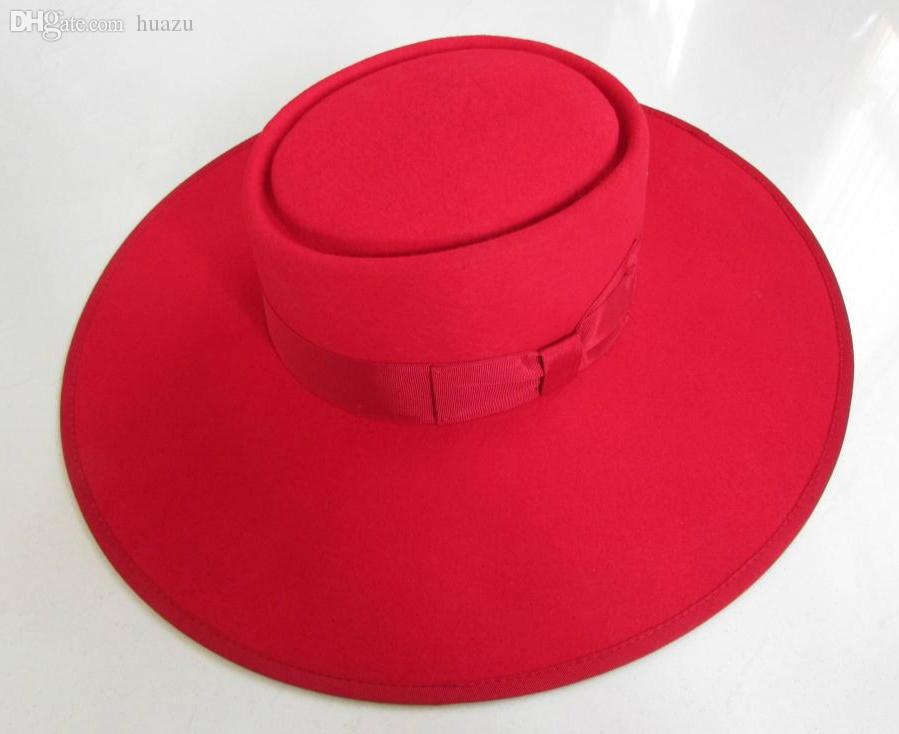 Wholesale-Red Wide Brim Hat for Women Men Pure Wool Felt 12cm Stiff ... cfd22ec1136