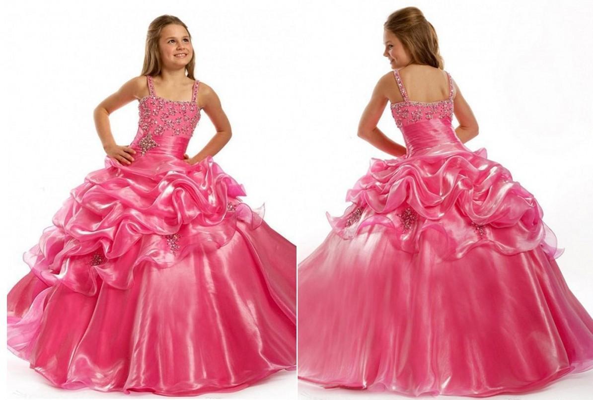 Compre Pink Beaded Cristales Spaghetti Straps Cuadrado Cute Princesa ...