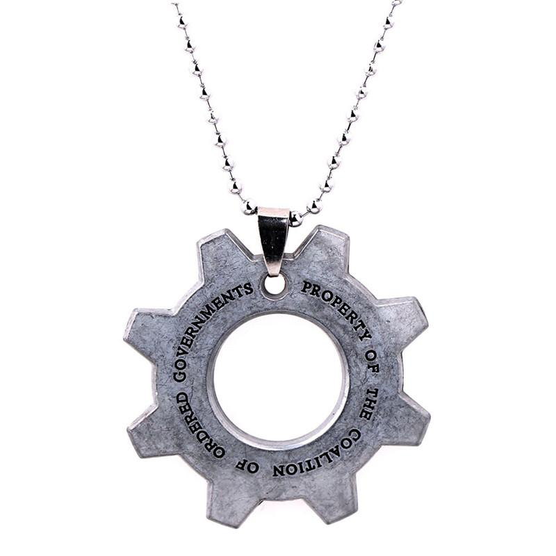 Game Jewelry Gears of War Necklace Keychian Jewelry Silver Plated Long Necklaces Pendant Key Chian For Gift