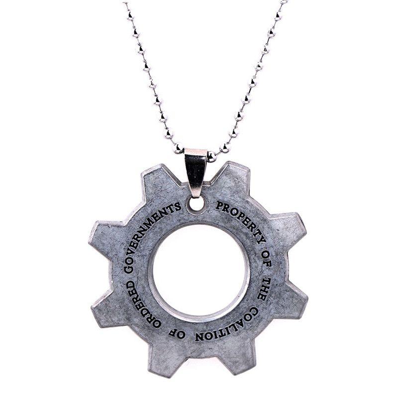 Oyun Takı Gears of Savaş Kolye Keychian Takı Gümüş Kaplama Uzun Kolye Kolye Anahtar Chian Hediye Için