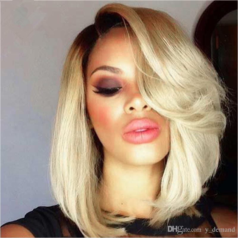 Lace Front Wigs Ombre Blond Charming Short Bob Straight Wigs