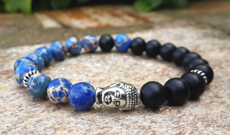 SN0268 Mens Buddha Mala Pulseira Imperial Azul Jasper Preto Onyx Bohemian Oração Budista Talão Pulseira Frete Grátis